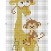 Схема вышивки крестом «Жираф и обезьянки»