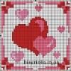 Схема вышивки «Сердечки для открытки»
