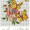 Схема вышивки «Жёлтые бабочки на розе»