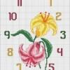 Схема вышивки «Часы с цветочками»