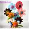 Как сделать цветочки из фетра и пуговиц