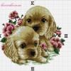Схема вышивки «Часы с щенками»