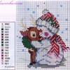Схема вышивки «Снеговик с оленёнком»
