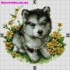 Схема вышивки «Часы с щенком»