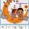 Схема вышивки крестиком «Детки на луне»
