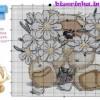 Схема вышивки «Медведь с букетом ромашек»