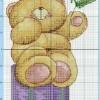 Схема вышивки крестиком «Медвежонок с ромашкой»