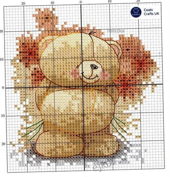 схема вышивки медвежонка с