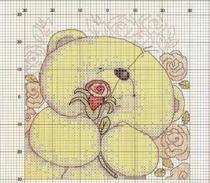 мишка с розочкои