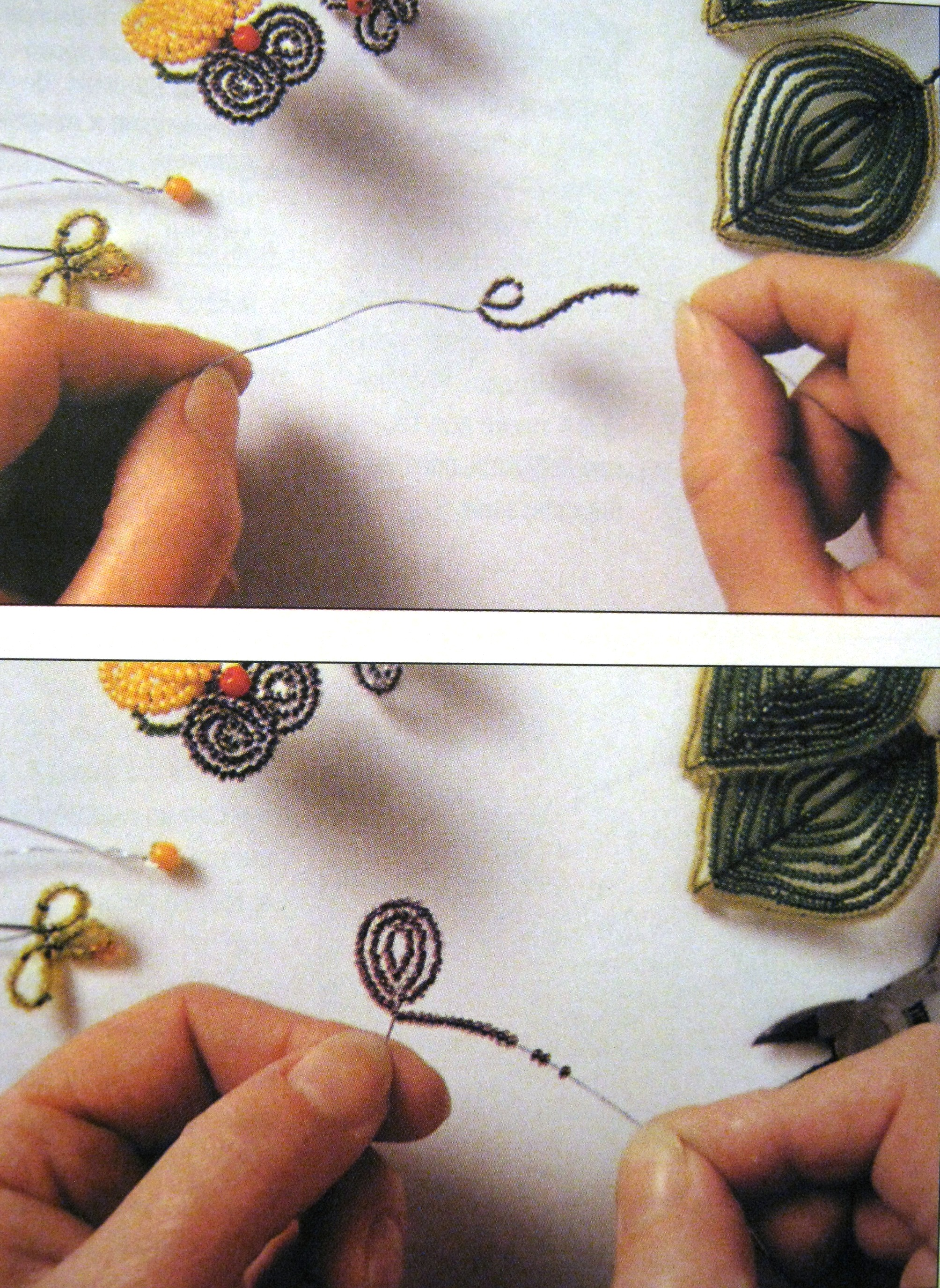 схема цветов из бисера на заколку