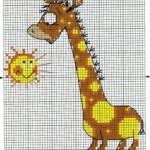 Простая схема вышивки жирафа