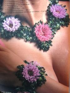 Схемы плетения колье с цветами