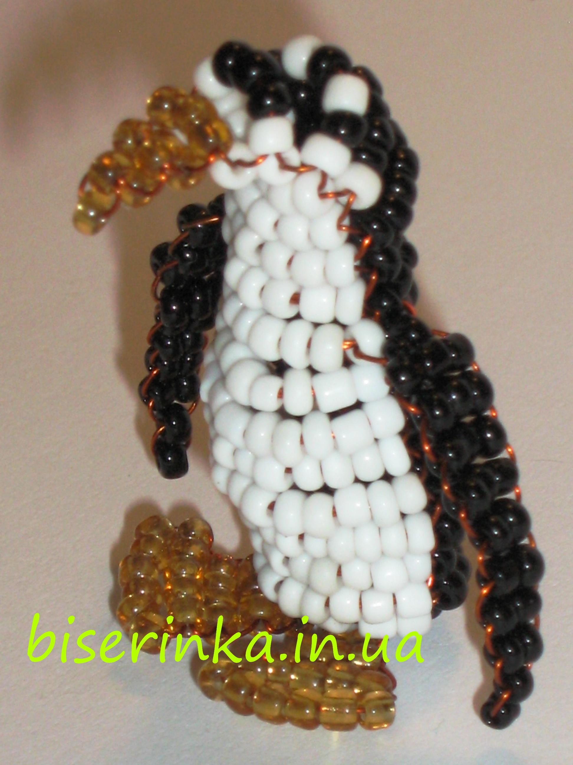 Как сделать пингвина из бисера