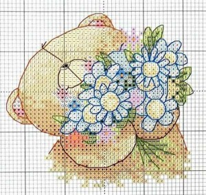 схема вышивки медведя с ромашками