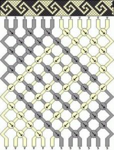 чёрно-белая фенечка техникой макраме