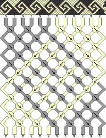 Чёрно белая фенечка техникой макраме