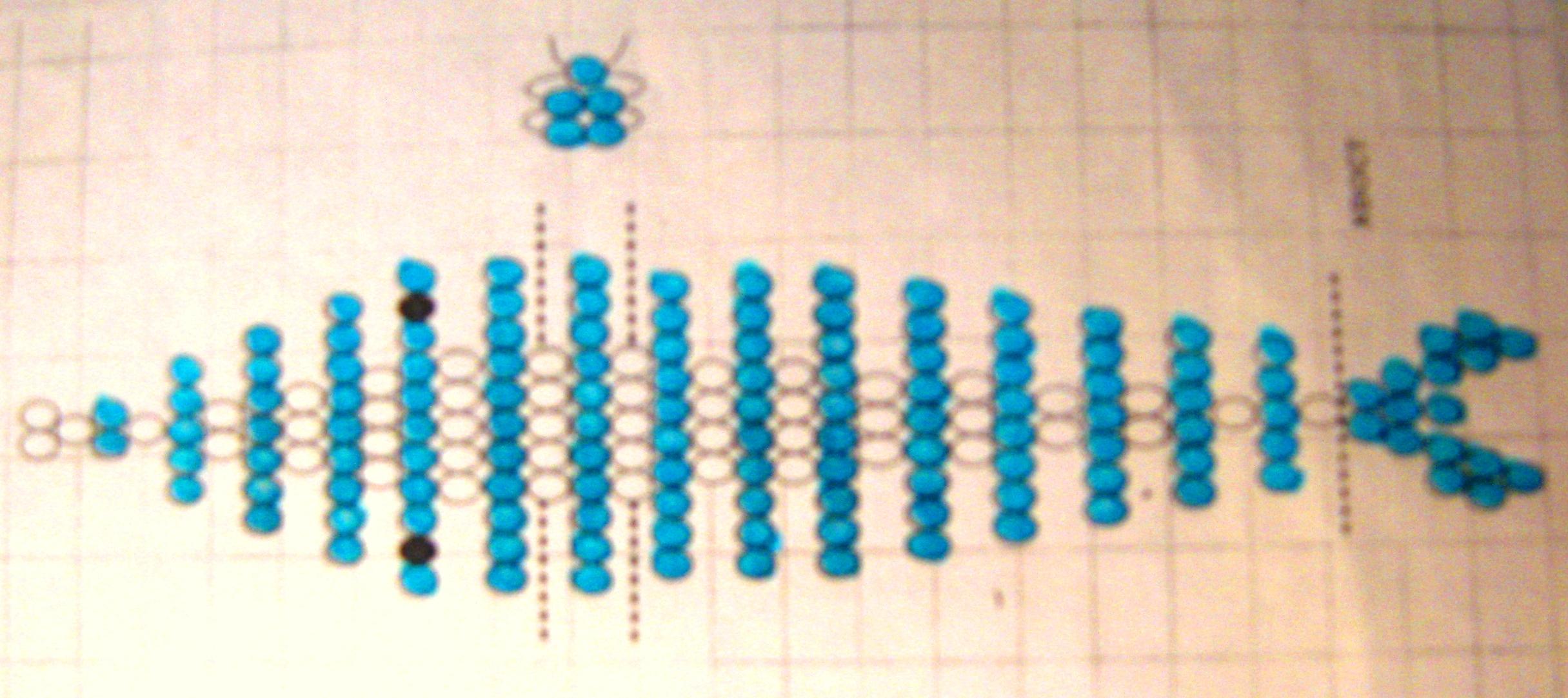 Начинаем работу с носика дельфина.  Далее по схеме, не забываем в 14 и 16 рядах протягивать дополнительную проволоку...