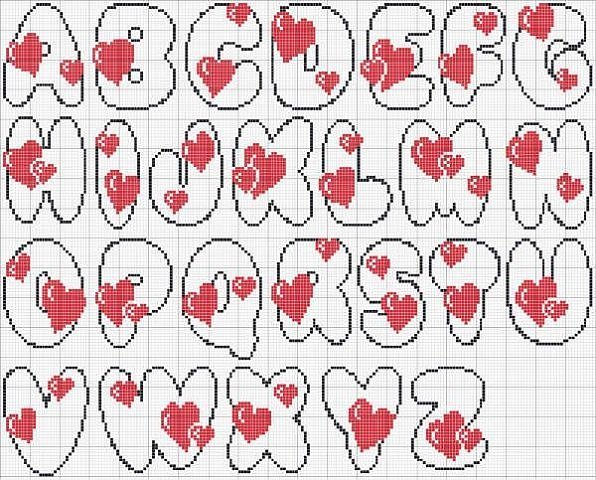 Алфавит для прямого плетения