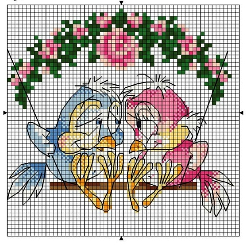 Схема вышивки птичек