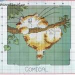 Схема вышивки «Котёнок на ветке»