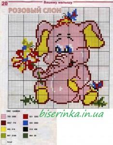 как вышить розоворо слона