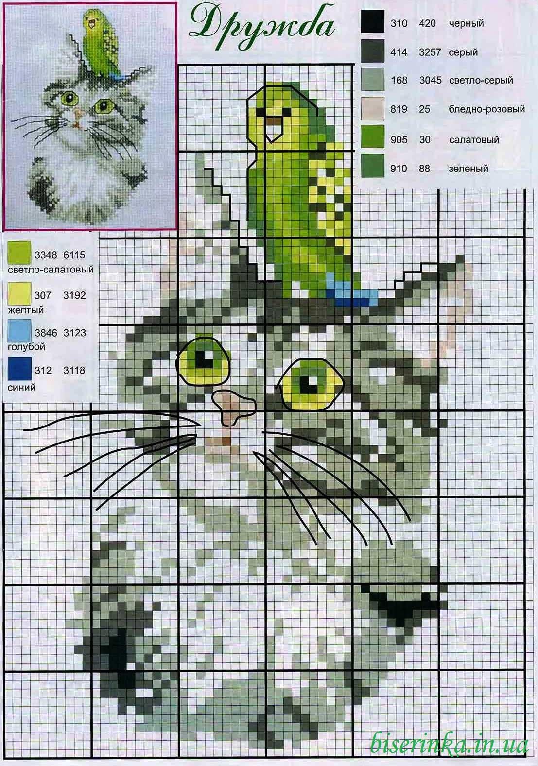 вышивка черный котенок цветная схема