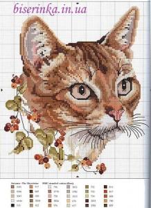 """Схема вышивки """"Кошка с веткой смородины"""""""