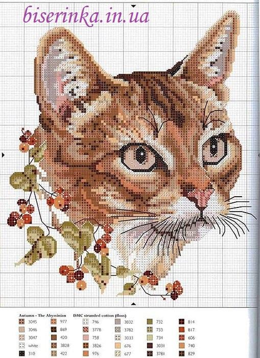 """Схема вышивки """"Кошка с веткой"""