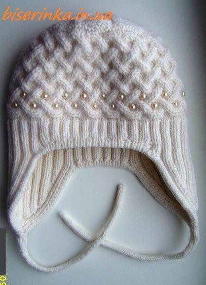 Детская шапочка ЖЕМЧУЖИНА , выполненная спицами.. Обсуждение на