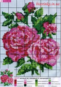 """Схема вышивки бисером """"Нежные розы"""""""