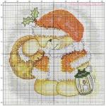 Схема вышивки «Медвежонок — Дед Мороз»