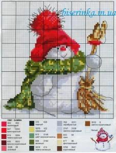 """Схема вышивки """"Праздничный снеговик"""""""