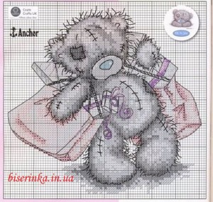 """Схема вышивки """"Мишка Тедди с подарками"""""""