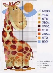 """Схема вышивки """"Смешной жираф"""""""