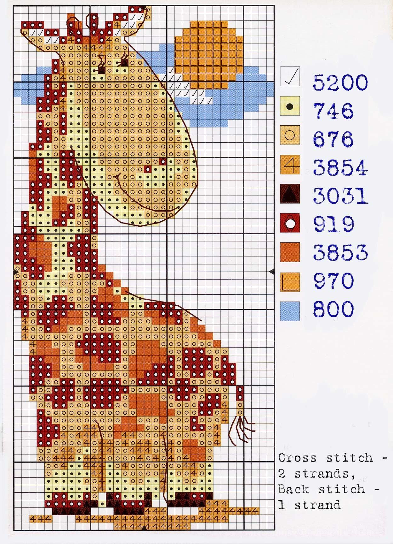 Жирафик, схема для вышивки крестом