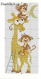 """Схема вышивки """"Жираф с обезьянками"""""""