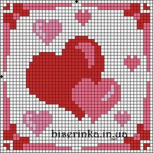"""Схема вышивки """"Сердечки для открытки"""""""