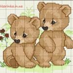 Схема вышивки «Два медвежонка»