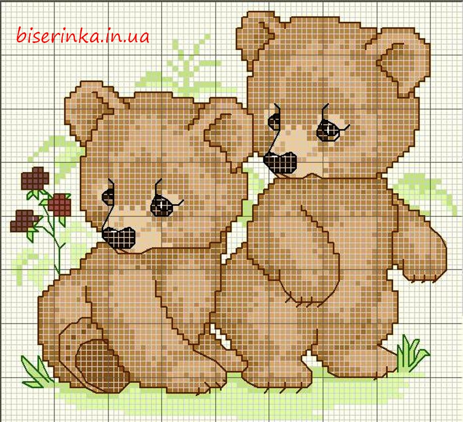 """Схема вышивки """"Два медвежонка"""""""