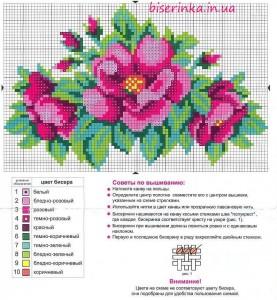 """Схема вышивки бисером """"Яркие цветы"""""""