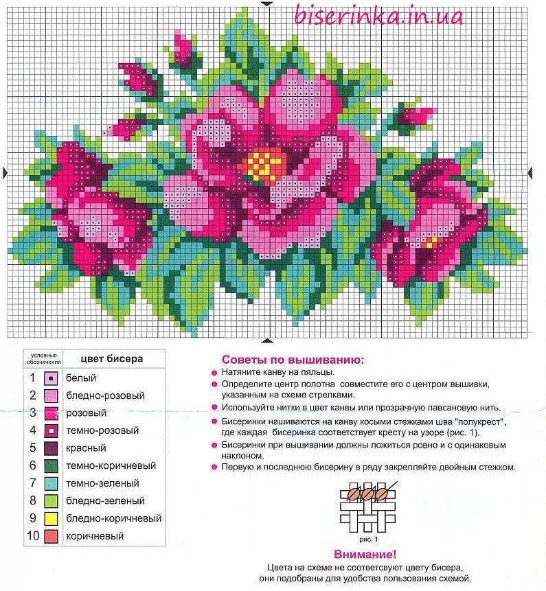 """Схема вышивки бисером  """"Яркие цветы """" ."""