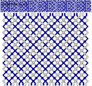 Широкая двухцветная фенечка техникой макраме