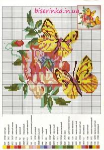 """Схема вышивки """"Жёлтые бабочки на цветке"""""""