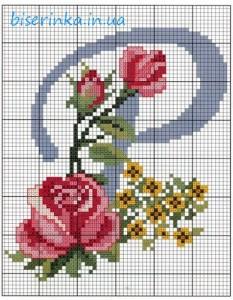 """Схема вышивки красивой буквы """"Р"""""""