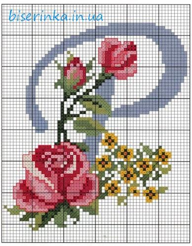 """Схема вышивки красивой буквы """""""