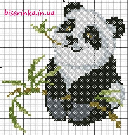 Схема вышивки медвежонка панды