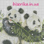 Большая схема вышивки «Две панды»