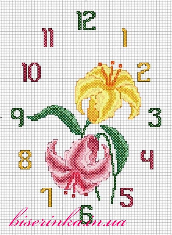 Схема вышивки «Часы с