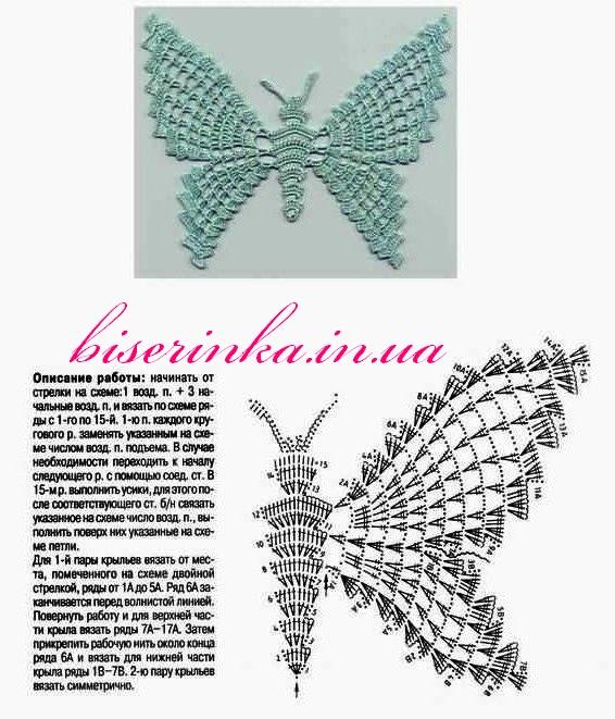 Салфетка-бабочка вязанная