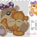 Схема вышивки «Медвежонок с игрушкой»